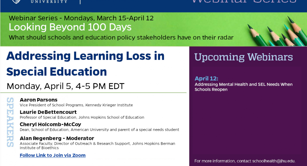 Webinar: Addressing Learning Loss in Special Education — Monday 4.5.21, 4-5 PM EDT