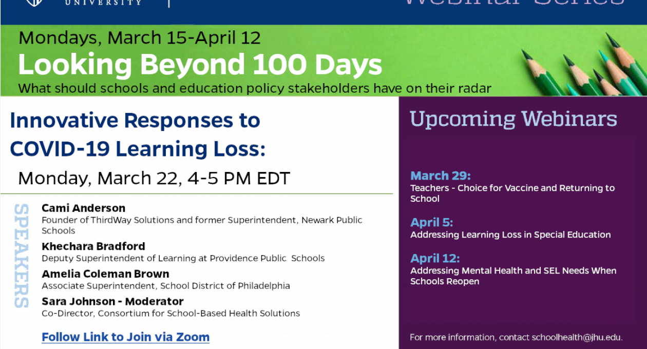 Webinar: Innovative Responses to COVID-19 Learning Loss – Monday 3.22.21, 4-5 PM EDT