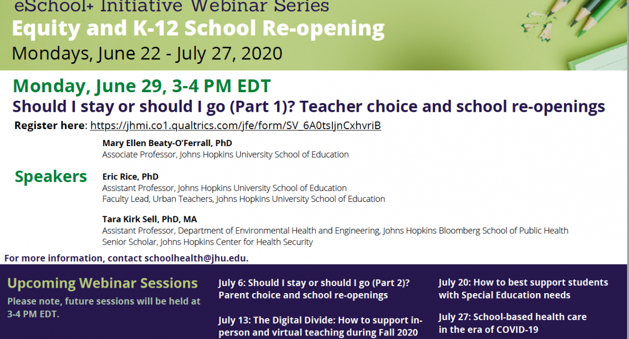 Should I stay or should I go (Part 1)? Teacher choice and school re-openings